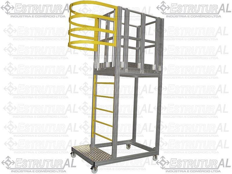 Escada plataforma industrial em alumínio